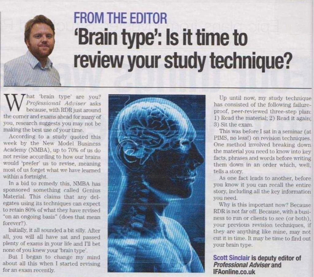 Lysette Offley & Genius Material in Professional-Adviser 07.07.11